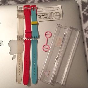 Swatch Accessories - 💛Vintage SWATCH Watch-4 Bands, Pink Guard & Tools